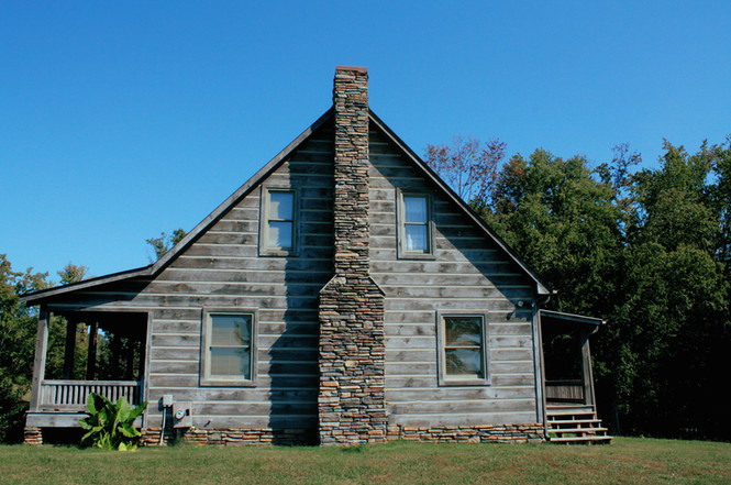 Vintage Cabin with Rustic Chimney