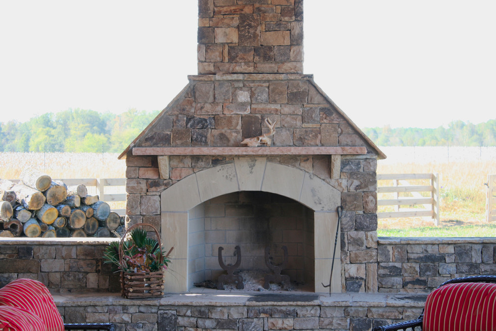 Country Stone Outdoor Fireplce