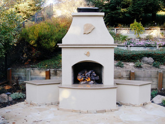Outdoor Fireplace in White