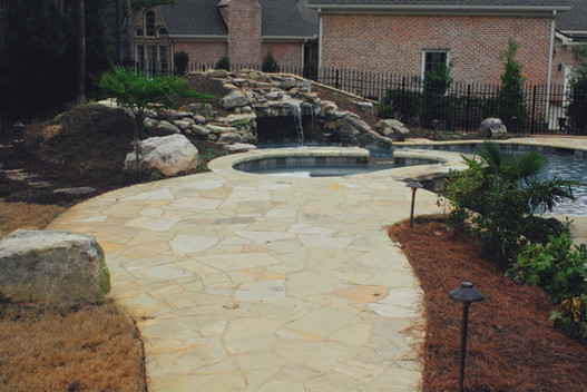 Boulder Stone Paver Patio Pool