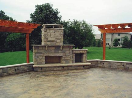 Stone Fireplace Patio and Pergolas