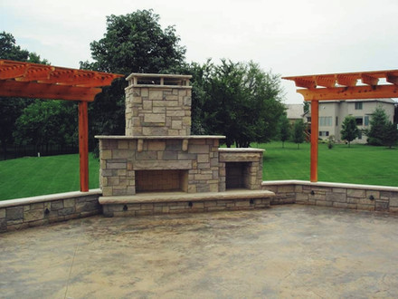 Stone Fireplace Patio and Pergolas