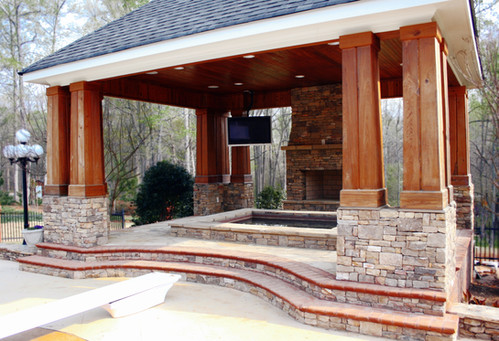 Gazebo Jacuzzi with Outdoor Fireplace
