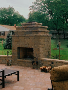 Short Square Outdoor Stone Fireplace