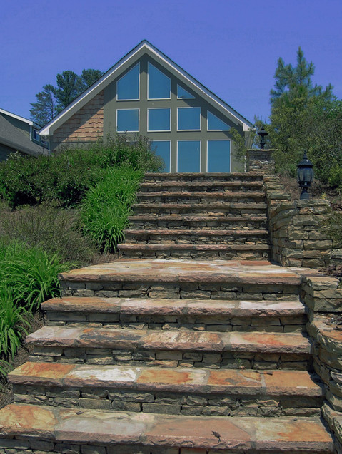 Stone Staircase with Modern House