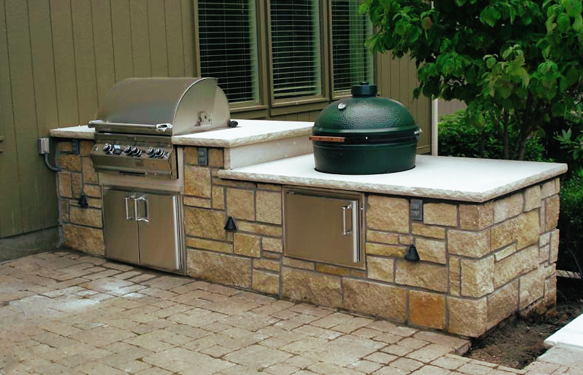 Egg Grill Stone Outdoor Kitchen