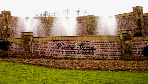 Plantation Entrance Sign and Fountain