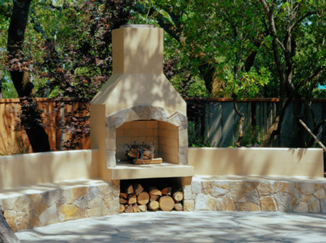 Curved Outdoor Fireplace Patio