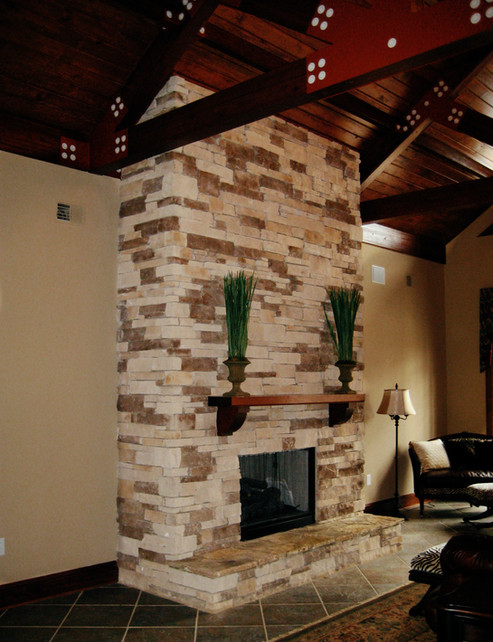 Stone Veneer Fireplace Makeover