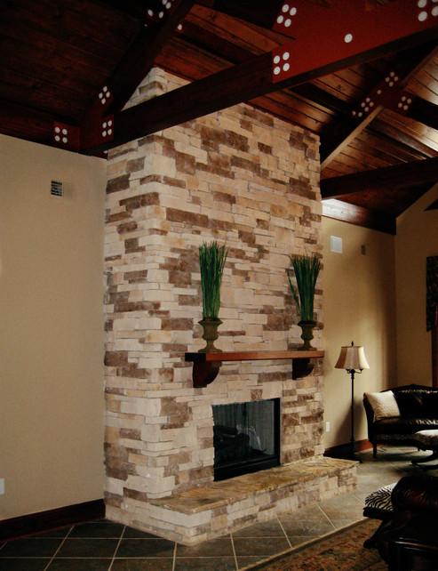 Stone Veneer Fireplace Makeover