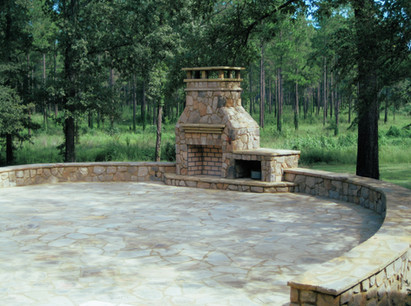 Circular Stone Patio and Fireplace