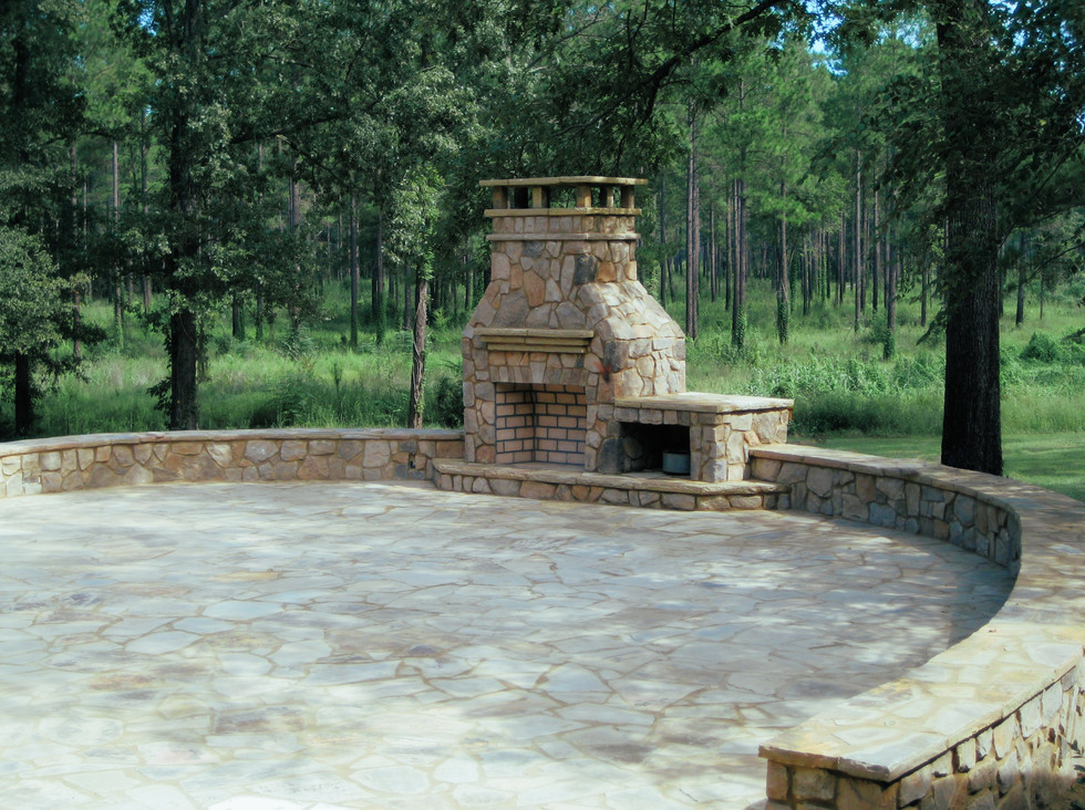 Circular Stone Patio and Fireplace