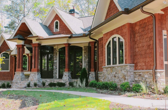 Stone Veneer Trim along House