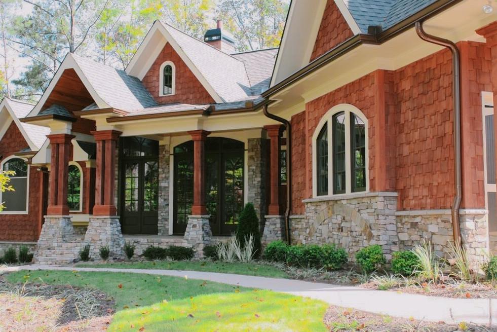 Stone Veneer Trim along House