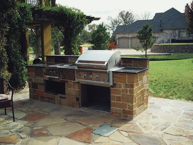 Natural Stone Outdoor Kitchen Patio