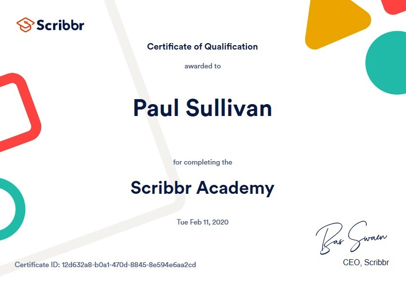 Scribbr Academy certificate Feb2020