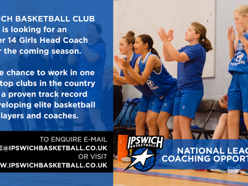 Ipswich recruiting U14 Girls Head Coach for 21/22