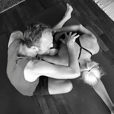 Andy Gill and Scott Johnson teachign together at Stillpoint Yoga London