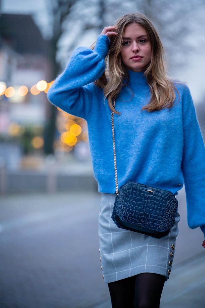 Carat23 bags - Baguette blue croco