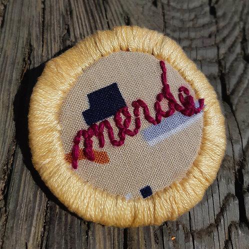 Merde Pin-Butter Yellow and Wine -Geometric Desert