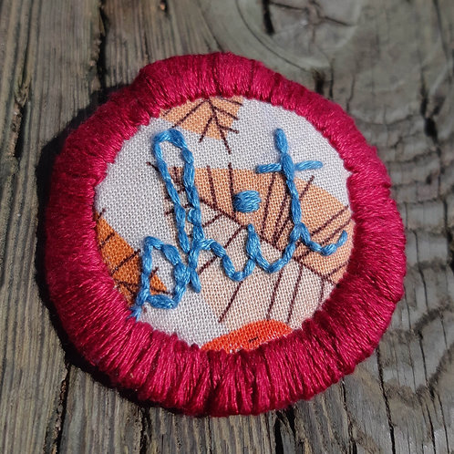 Shit Pin-Metal Blue and Cherry Red-Fall Leaves