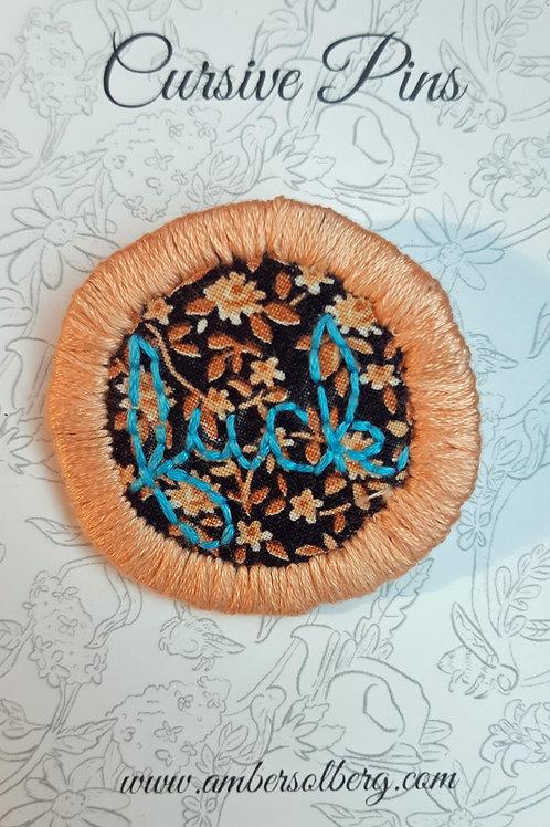 Fuck Pin: Peach and Sky Blue: Wildflower Sprigs