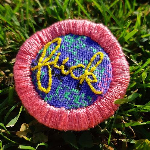 Fuck Pin-Coral Pink and Banana-80's Rad Pattern