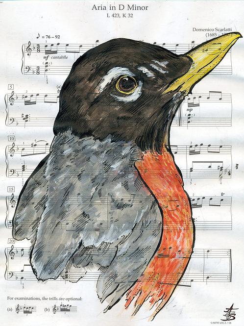 Music Bird Prints: American Robin