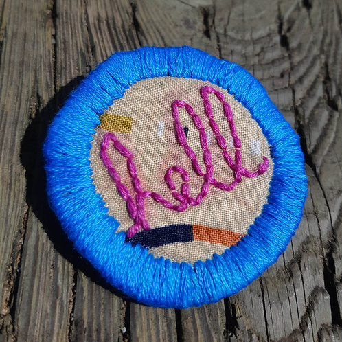 Hell Pin- Electric Blue and Fuschia -Geometric Desert