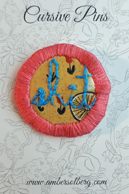 Shit Pin: Bubblegum and Sky Blue: Cats and Bikes