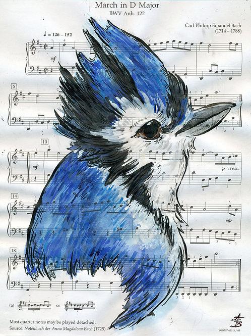 Music Bird Prints: Bluejay