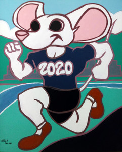 2020 Mouse, acrylic on canvas, celebrated the start of 2020, the year of the white rat