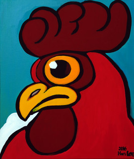 Rooster, 2016, acrylic on canvas.