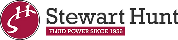 Stewart Hunt Logo, a circle with SH next to Stewart Hunt: Fluid Power since 1956 in white on a red box.
