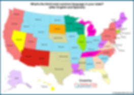 Excluding English and Spanish, what is the most common language in each US state?