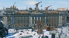 Das Bild zeigt eine Animation zur Rekonstruktion der aufwendigen Bauarbeiten des Reichstages in Berlin.