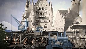 Das Foto zeigt eine Rekonstruktion der Baustelle von Schloss Neuschwanstein in Bayern.