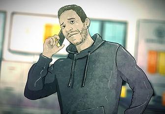 """Das Bild zeigt einen gezeichnete männlichen Protagonisten aus der ZDF-Doku """"4 Start-ups und ihr Pitch gegen die Pandemie""""."""