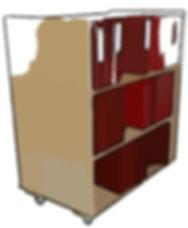 Aktenwagen Bücherwagen Holzwagen für die Beförderung von Büchern und Akten / Aktenordnern