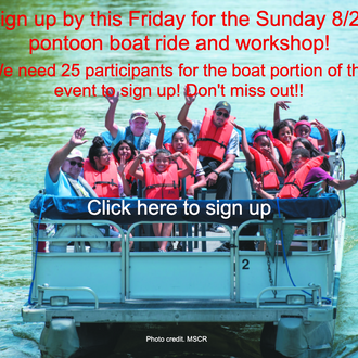 Sign up by Friday for pontoon boat ride and workshop!