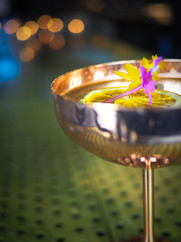 Mezcal, Averna, Creme de Cacao, Mole, Chocolate, Dates, Happy Thoughts. Cocktail with flower from intimate bar in Chicago Lincoln Square neighborhood