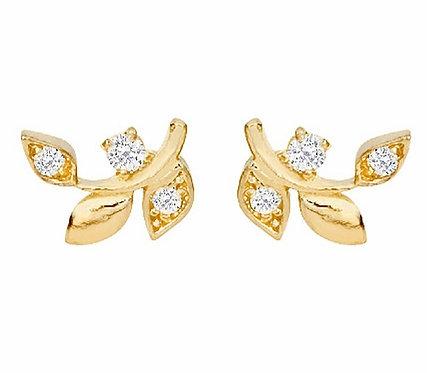 BAIHE Solid 18K Yellow Gold Round Natural Diamonds Jewelry Leaf Diamond Earrings