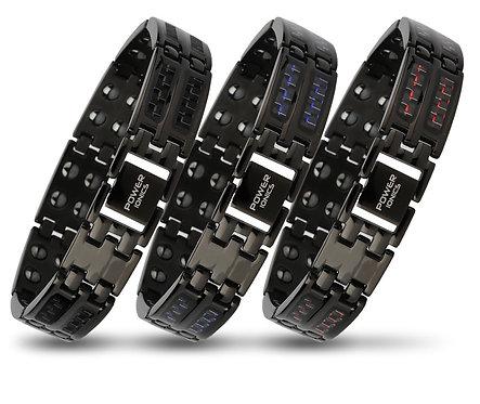 Power Ionics Mens Black/Blue/Red Carbon Fiber 100% Pure Titanium Magnetic