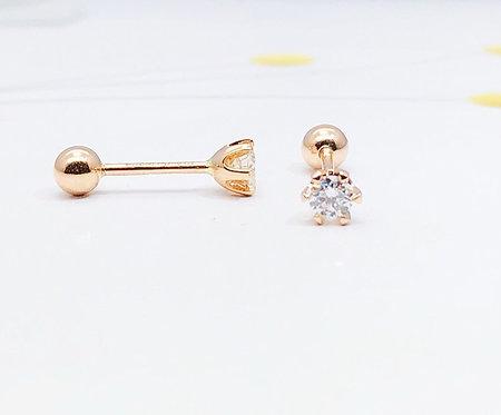 Aazuo 100% 18K White Gold Rose Gold Real Diamond 0.15ct