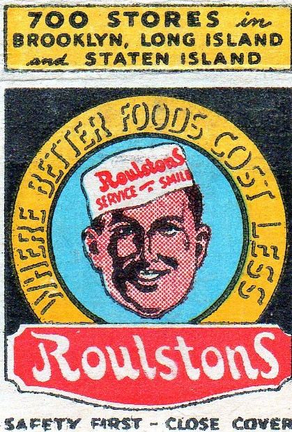 Vintage match book cover for Roulston Foods company  circa. 1903 - 1930s