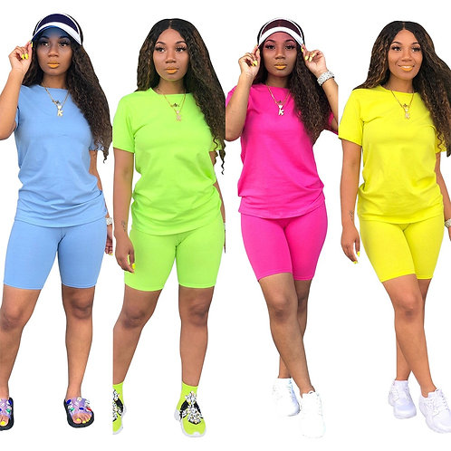 New Women Solid Sporting Casual Two Piece Set Short Sleeve