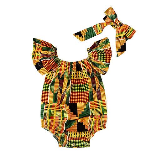 Newborn Baby Girls African Print Off Shoulder Hair Band Bodysuits