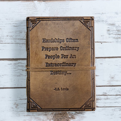 """Hardships and Extraordinary Journey"" Tan Handmade Leather Journal"