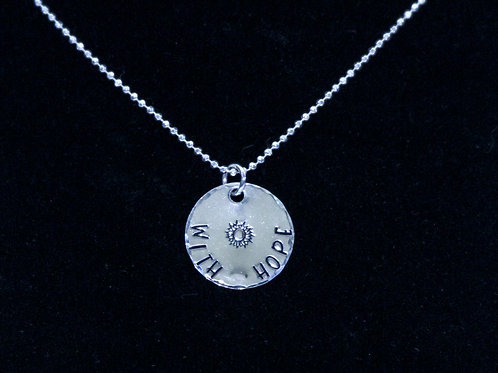With Hope Round Silver Tag Necklace