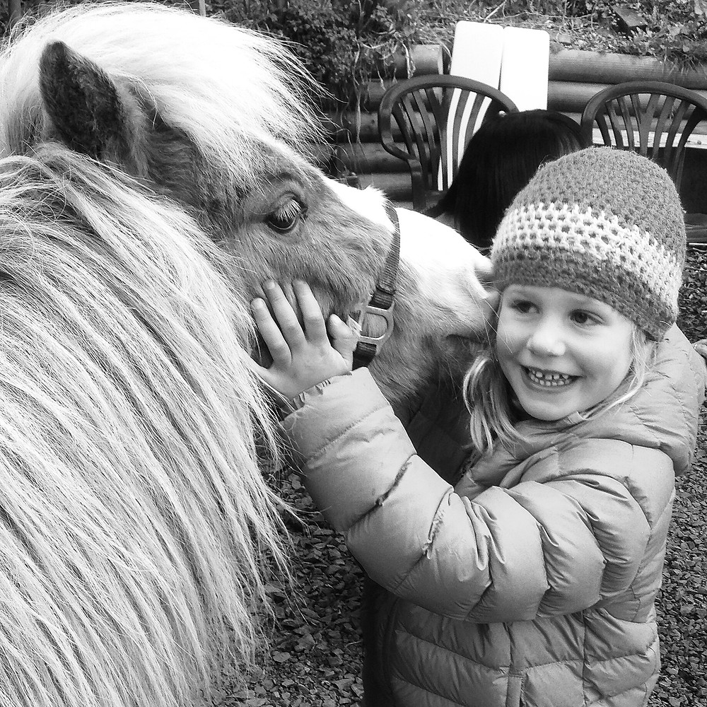A pony nuzzles a girl's face in a mobile phone photograph by Dunedin photographer Edith Leigh